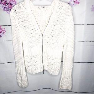 CAbi | Bay Breeze Zip Up Crochet Sweater